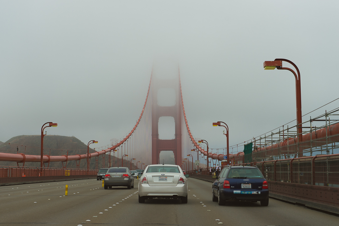 Auf der Golden Gate Bridge.