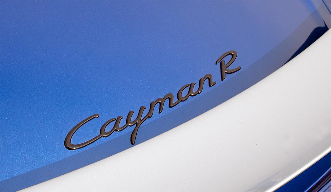 Schriftzug-Porsche-Cayman-R-Interior