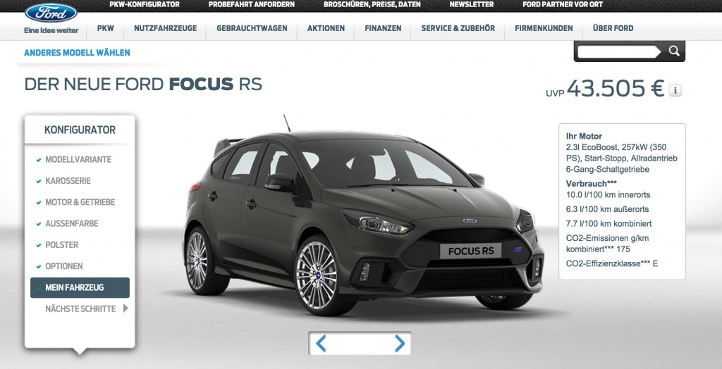 mein 2015 ford focus rs w rde mich euro kosten. Black Bedroom Furniture Sets. Home Design Ideas